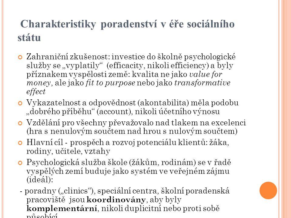 """Charakteristiky poradenství v éře sociálního státu Zahraniční zkušenost: investice do školně psychologické služby se """"vyplatily"""" (efficacity, nikoli e"""