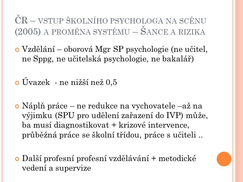 ČR – VSTUP ŠKOLNÍHO PSYCHOLOGA NA SCÉNU (2005) A PROMĚNA SYSTÉMU – Š ANCE A RIZIKA Vzdělání – oborová Mgr SP psychologie (ne učitel, ne Sppg, ne učitelská psychologie, ne bakalář) Úvazek - ne nižší než 0,5 Náplň práce – ne redukce na vychovatele –až na výjimku (SPU pro udělení zařazení do IVP) může, ba musí diagnostikovat + krizové intervence, průběžná práce se školní třídou, práce s učiteli..