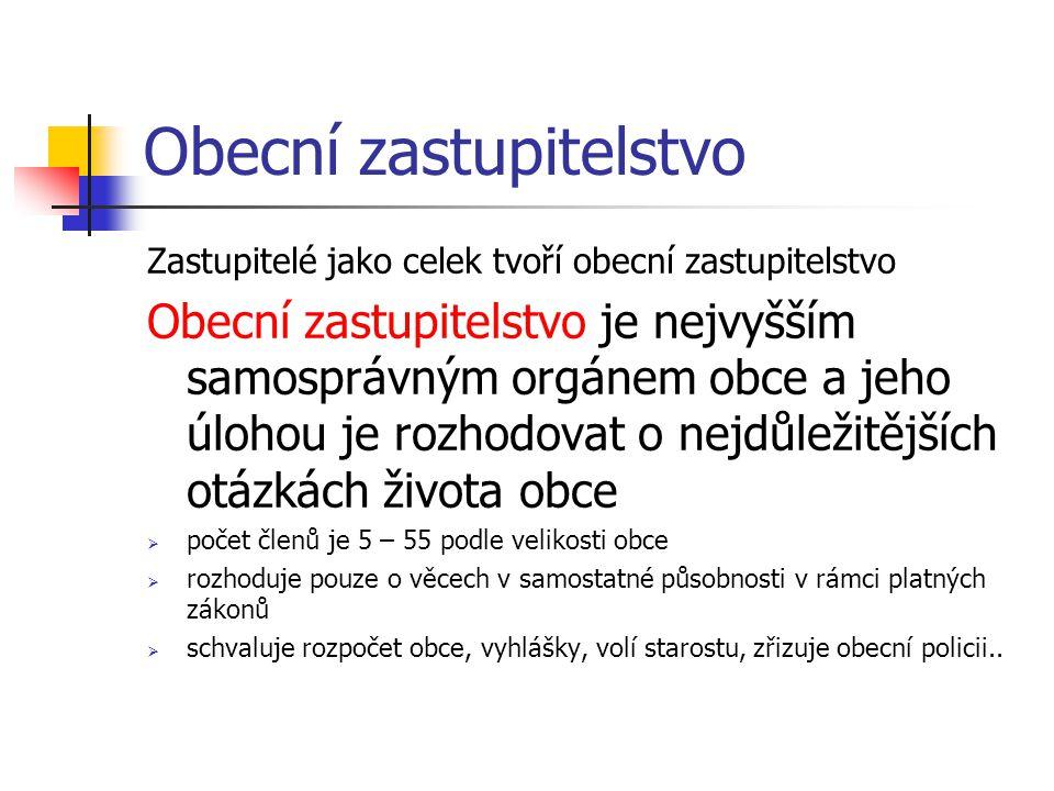 Obecní zřízení V čele obecního zastupitelstva stojí starosta/starostka (ve velkých městech a v Praze je nazýván(a) primátor/primátorka)