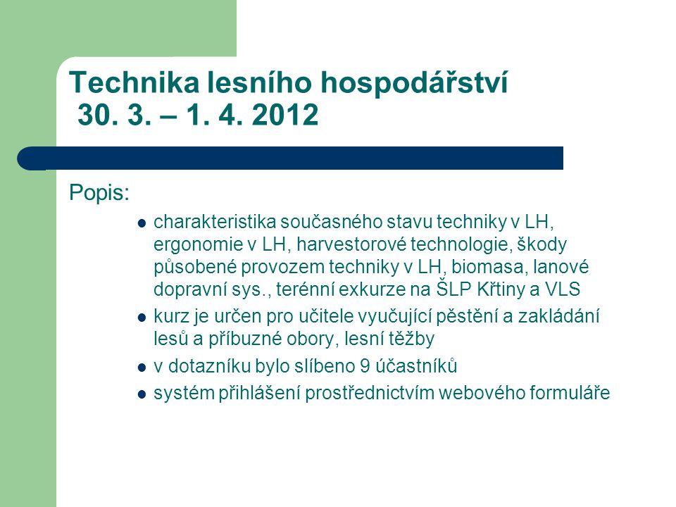 Technika lesního hospodářství 30. 3. – 1. 4.