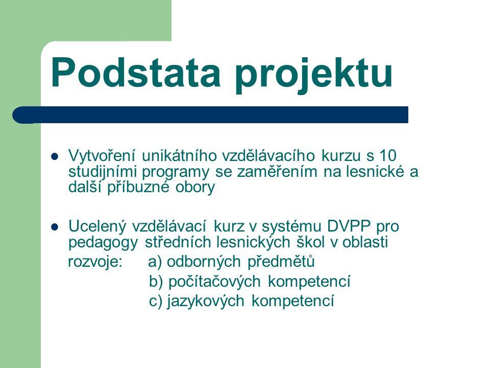 Podstata projektu Vytvoření unikátního vzdělávacího kurzu s 10 studijními programy se zaměřením na lesnické a další příbuzné obory Ucelený vzdělávací kurz v systému DVPP pro pedagogy středních lesnických škol v oblasti rozvoje: a) odborných předmětů b) počítačových kompetencí c) jazykových kompetencí