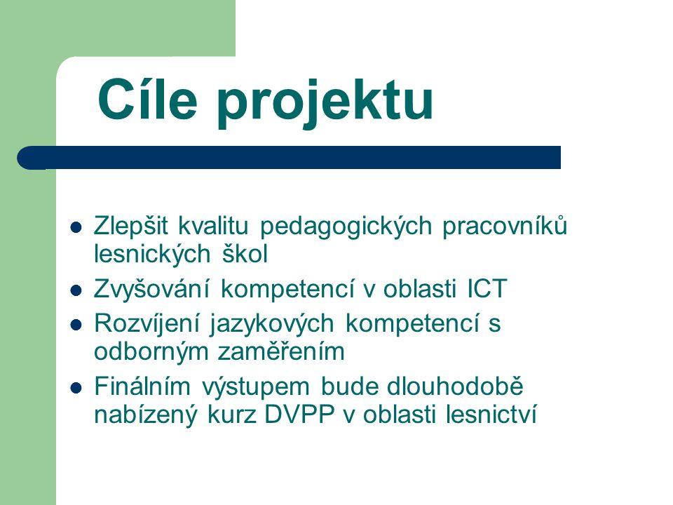 Cíle projektu Zlepšit kvalitu pedagogických pracovníků lesnických škol Zvyšování kompetencí v oblasti ICT Rozvíjení jazykových kompetencí s odborným zaměřením Finálním výstupem bude dlouhodobě nabízený kurz DVPP v oblasti lesnictví