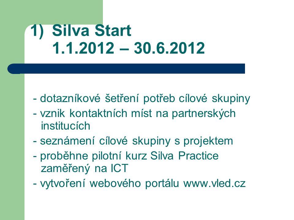 1)Silva Start 1.1.2012 – 30.6.2012 - dotazníkové šetření potřeb cílové skupiny - vznik kontaktních míst na partnerských institucích - seznámení cílové skupiny s projektem - proběhne pilotní kurz Silva Practice zaměřený na ICT - vytvoření webového portálu www.vled.cz
