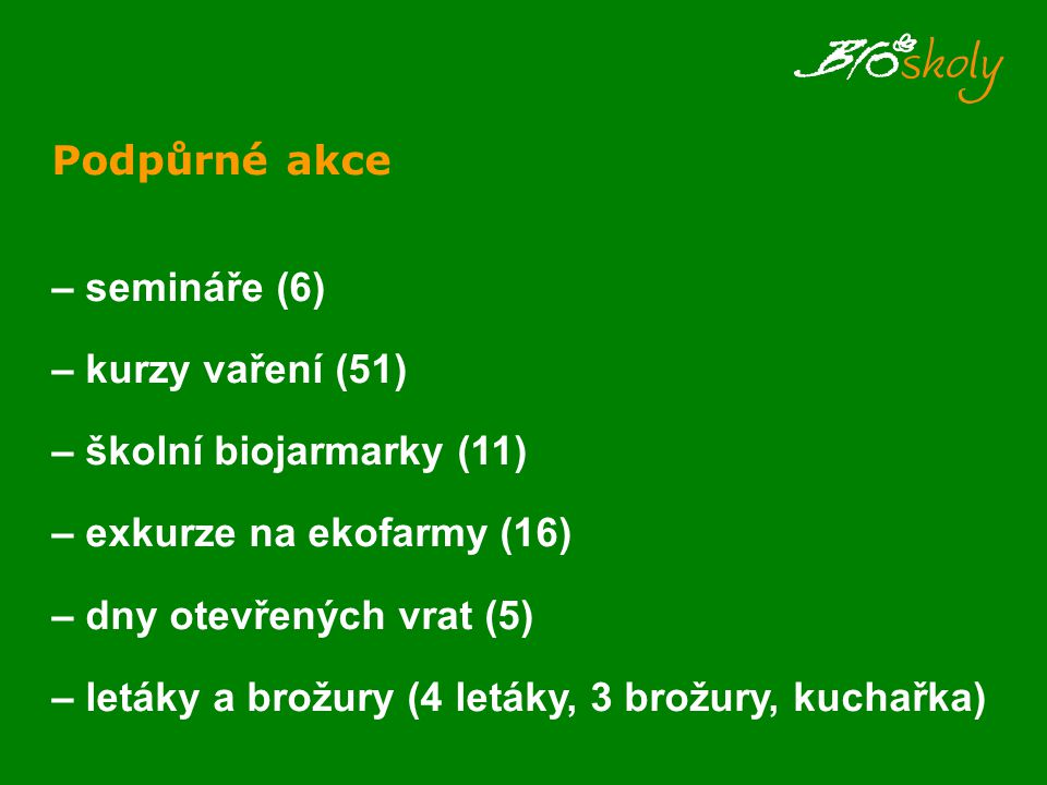 Podpůrné akce – semináře (6) – kurzy vaření (51) – školní biojarmarky (11) – exkurze na ekofarmy (16) – dny otevřených vrat (5) – letáky a brožury (4