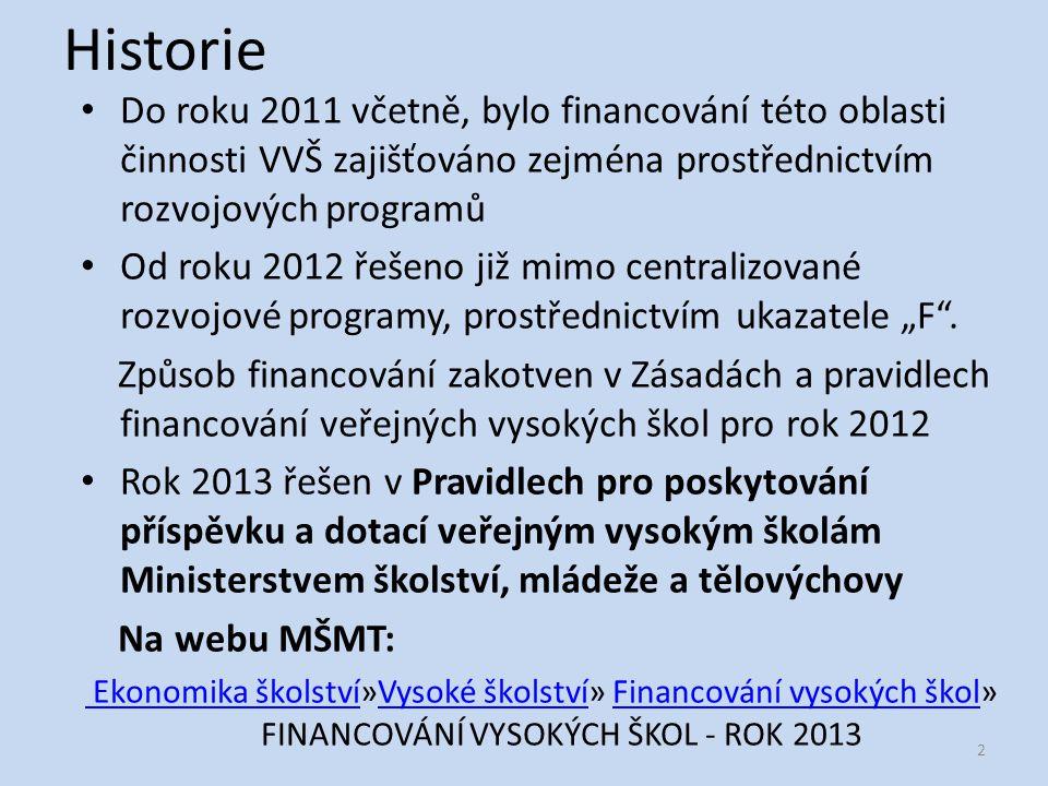 """Historie Do roku 2011 včetně, bylo financování této oblasti činnosti VVŠ zajišťováno zejména prostřednictvím rozvojových programů Od roku 2012 řešeno již mimo centralizované rozvojové programy, prostřednictvím ukazatele """"F ."""