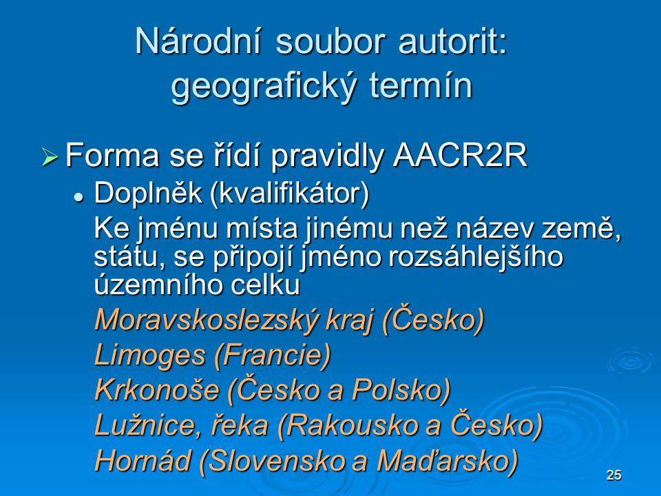 25 Národní soubor autorit: geografický termín  Forma se řídí pravidly AACR2R Doplněk (kvalifikátor) Doplněk (kvalifikátor) Ke jménu místa jinému než