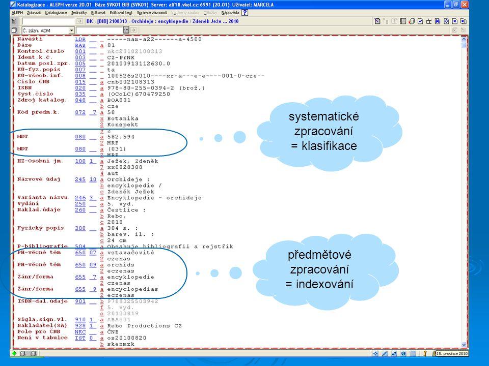 54 systematické zpracování = klasifikace předmětové zpracování = indexování