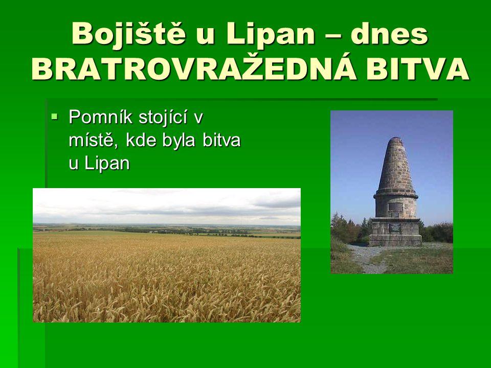 Bojiště u Lipan – dnes BRATROVRAŽEDNÁ BITVA  Pomník stojící v místě, kde byla bitva u Lipan