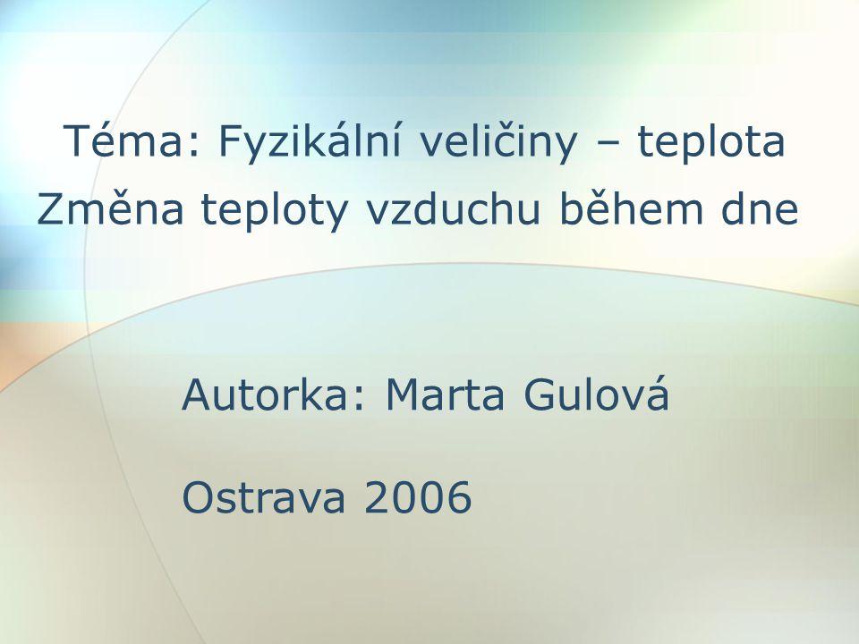 Téma: Fyzikální veličiny – teplota Změna teploty vzduchu během dne Autorka: Marta Gulová Ostrava 2006