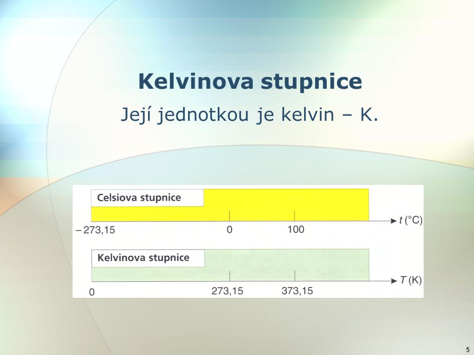 5 Kelvinova stupnice Její jednotkou je kelvin – K.