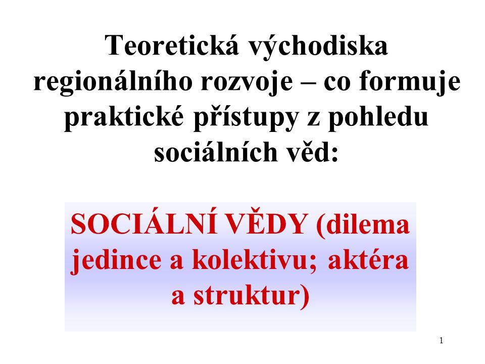 1 Teoretická východiska regionálního rozvoje – co formuje praktické přístupy z pohledu sociálních věd: SOCIÁLNÍ VĚDY (dilema jedince a kolektivu; aktéra a struktur)