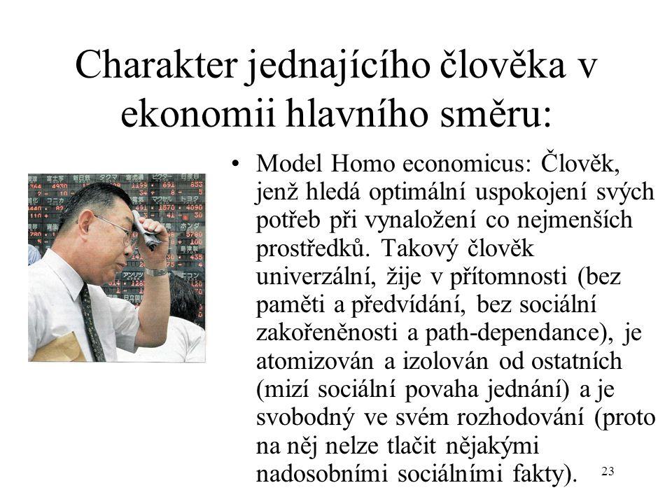 23 Charakter jednajícího člověka v ekonomii hlavního směru: Model Homo economicus: Člověk, jenž hledá optimální uspokojení svých potřeb při vynaložení co nejmenších prostředků.