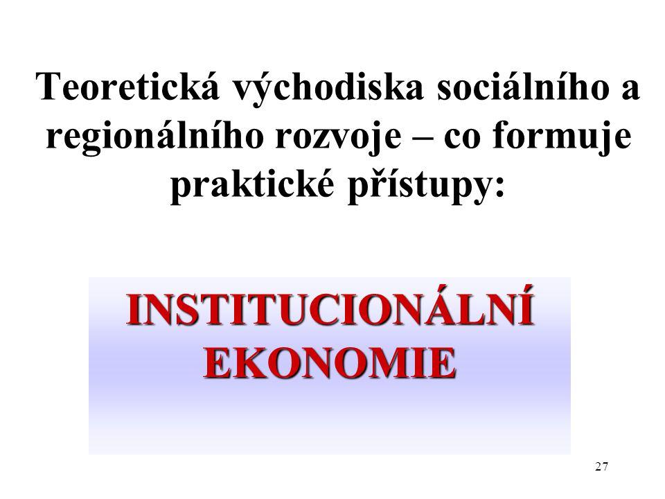 27 Teoretická východiska sociálního a regionálního rozvoje – co formuje praktické přístupy: INSTITUCIONÁLNÍ EKONOMIE