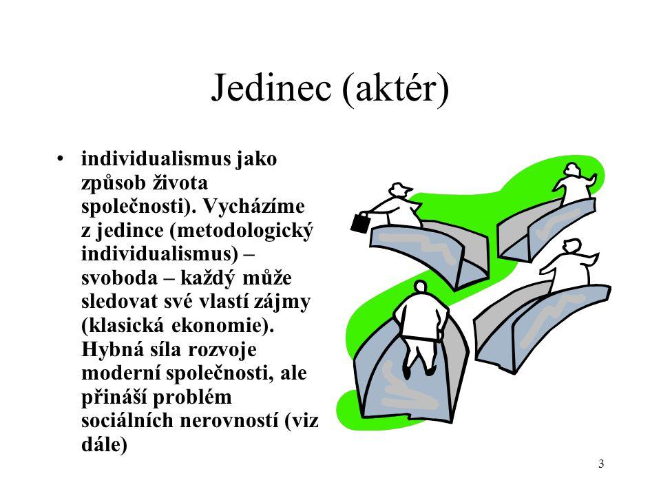 3 Jedinec (aktér) individualismus jako způsob života společnosti).