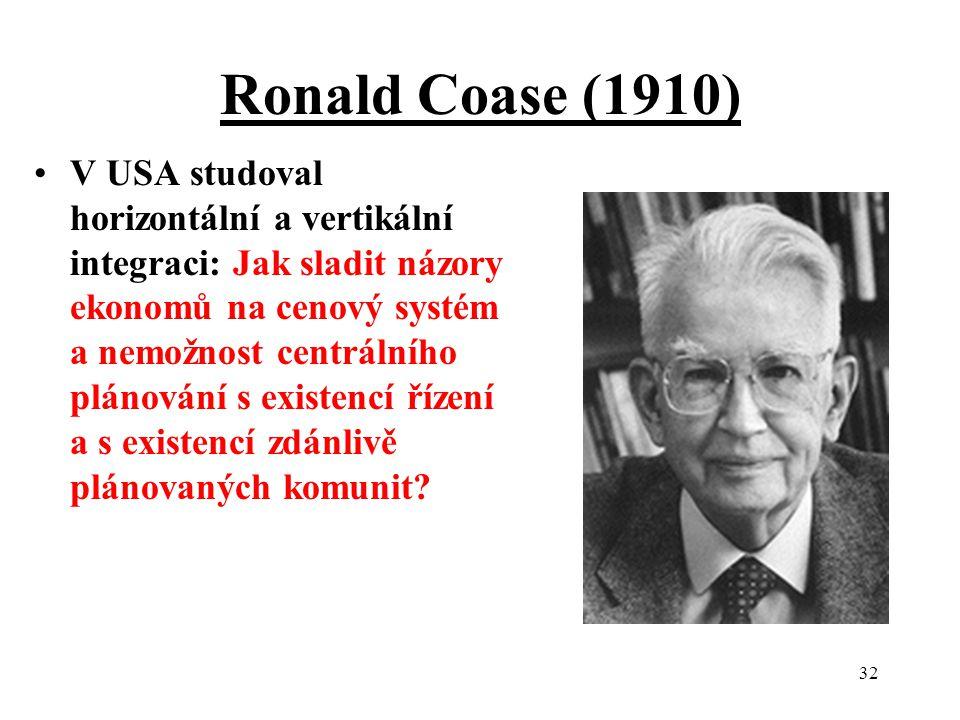 32 Ronald Coase (1910) V USA studoval horizontální a vertikální integraci: Jak sladit názory ekonomů na cenový systém a nemožnost centrálního plánování s existencí řízení a s existencí zdánlivě plánovaných komunit?