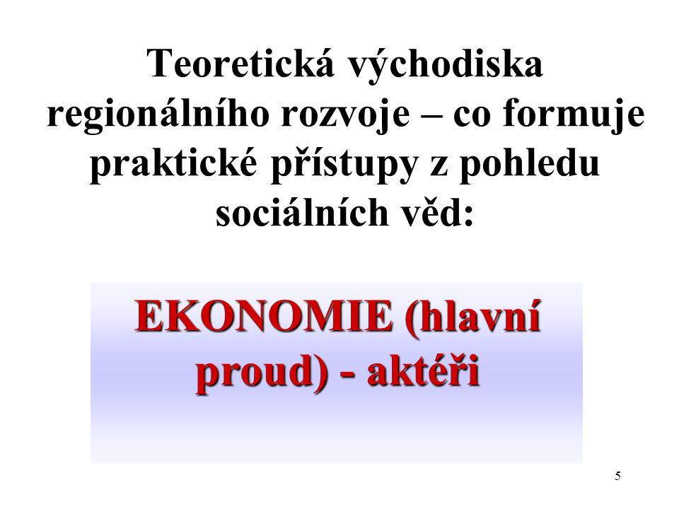 5 Teoretická východiska regionálního rozvoje – co formuje praktické přístupy z pohledu sociálních věd: EKONOMIE (hlavní proud) - aktéři