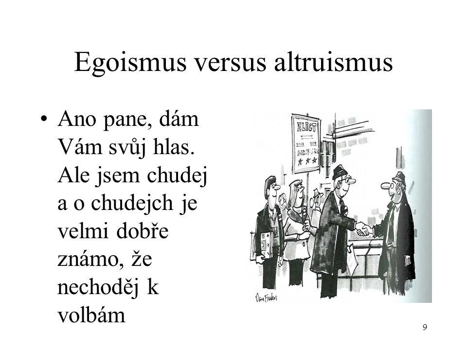 9 Egoismus versus altruismus Ano pane, dám Vám svůj hlas.