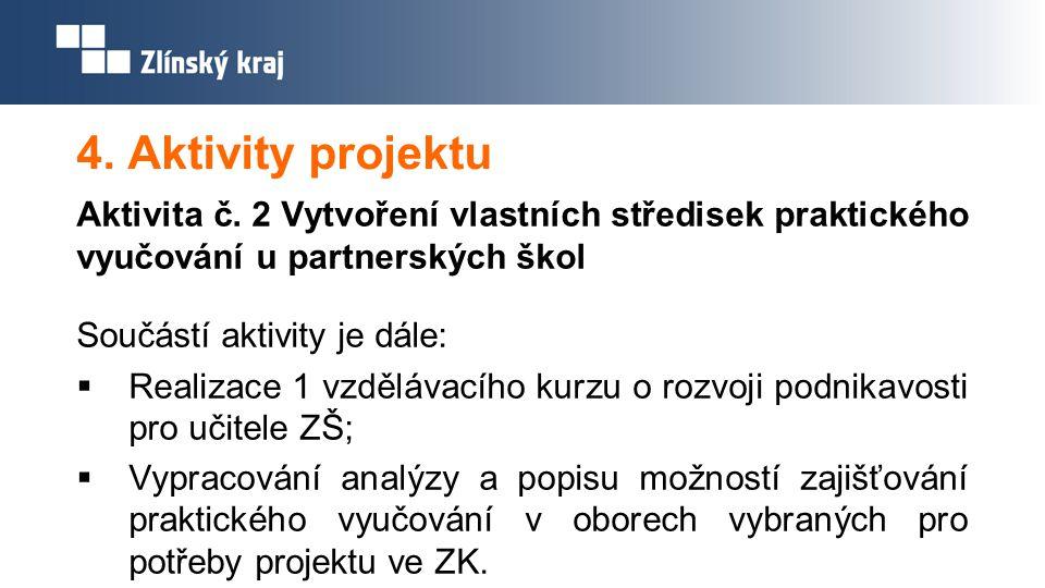 4. Aktivity projektu Aktivita č. 2 Vytvoření vlastních středisek praktického vyučování u partnerských škol Součástí aktivity je dále:  Realizace 1 vz