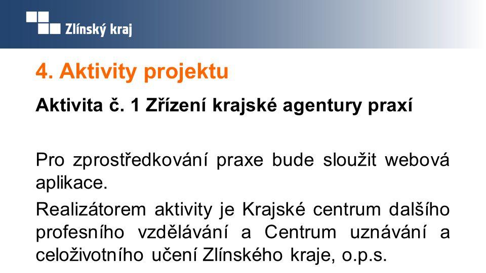 4. Aktivity projektu Aktivita č. 1 Zřízení krajské agentury praxí Pro zprostředkování praxe bude sloužit webová aplikace. Realizátorem aktivity je Kra