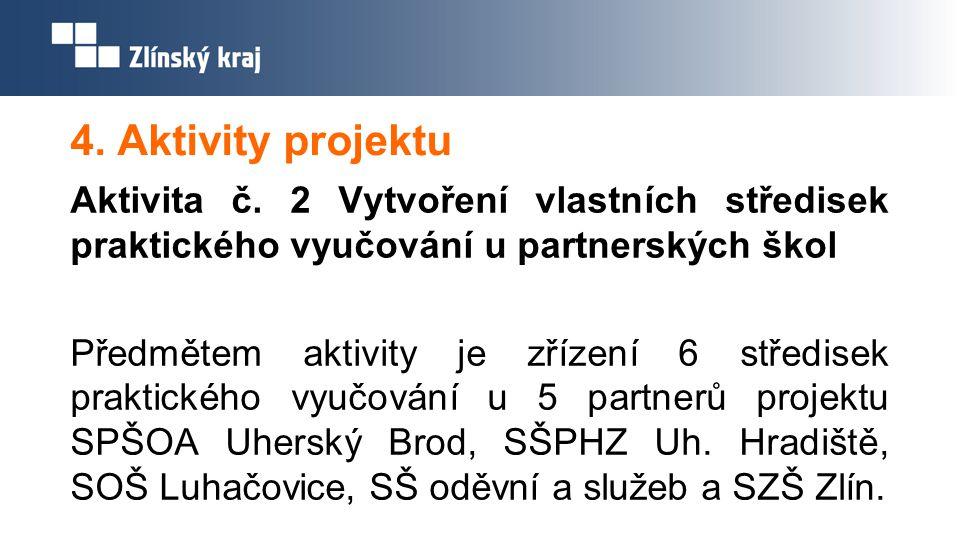 4. Aktivity projektu Aktivita č. 2 Vytvoření vlastních středisek praktického vyučování u partnerských škol Předmětem aktivity je zřízení 6 středisek p
