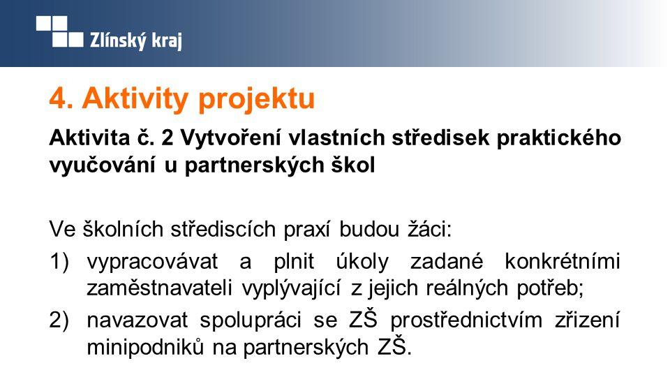 4. Aktivity projektu Aktivita č. 2 Vytvoření vlastních středisek praktického vyučování u partnerských škol Ve školních střediscích praxí budou žáci: 1