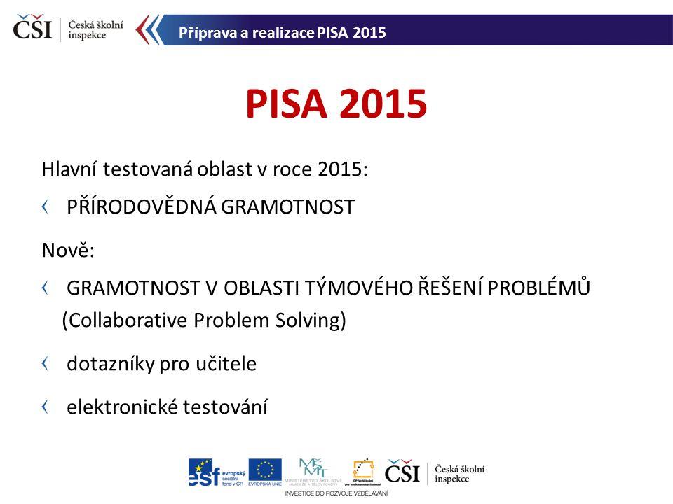 Příprava PISA 2015 od června 2012: posouzení koncepčního rámce vývoj nových přírodovědných úloh diagnostika počítačového vybavení škol posuzování nových úloh pro pilotní šetření vývoj dotazníků a posouzení jednotlivých položek překlady a příprava testových nástrojů výběr vzorku škol a žáků Příprava PISA 2015 Příprava a realizace PISA 2015