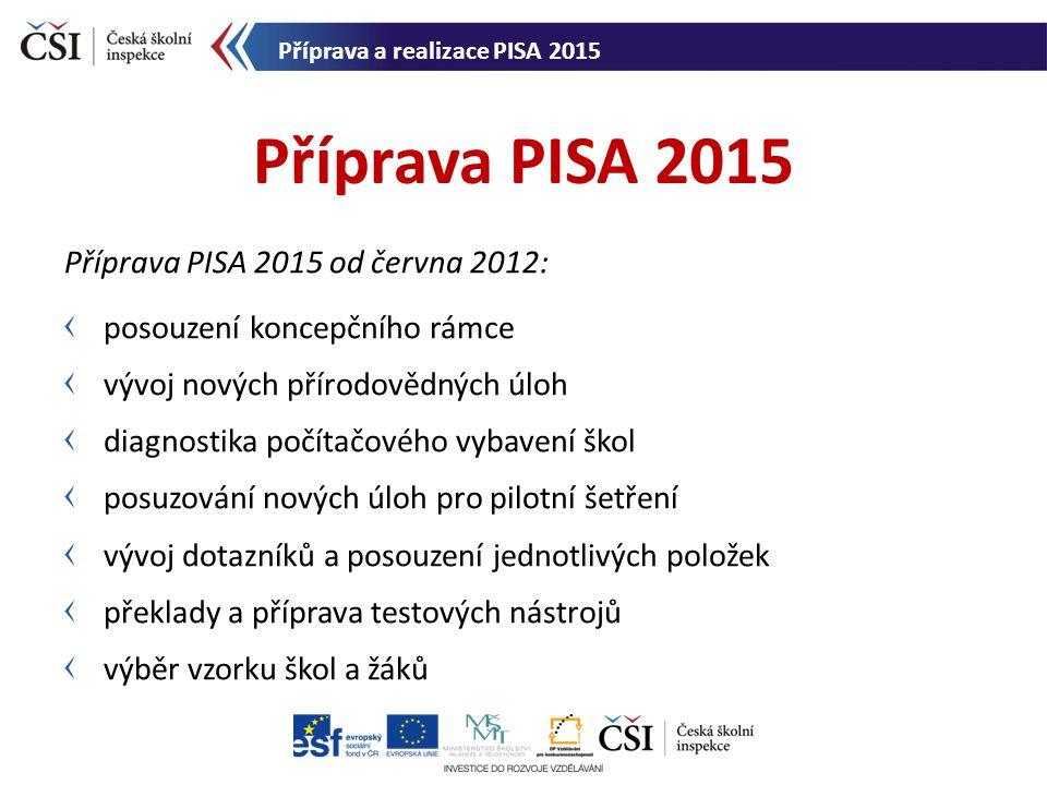 Příprava PISA 2015 od června 2012: posouzení koncepčního rámce vývoj nových přírodovědných úloh diagnostika počítačového vybavení škol posuzování nový