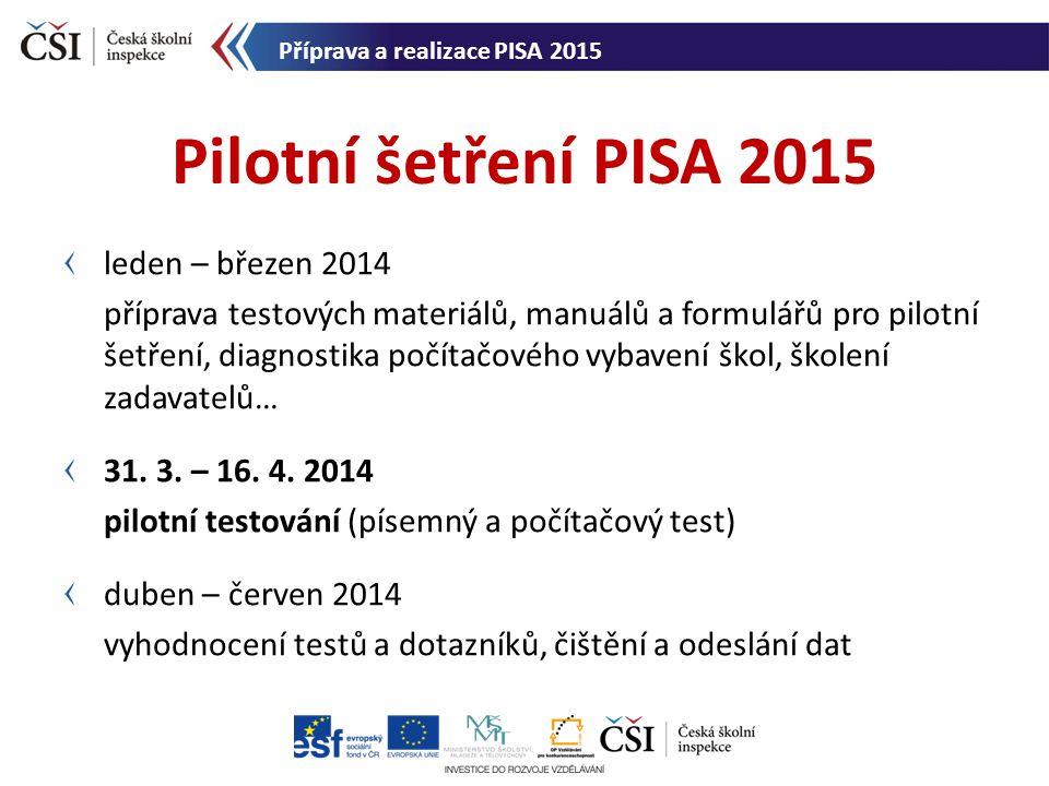 cíle pilotního šetření (ověření procedur, logistiky, testových nástrojů….