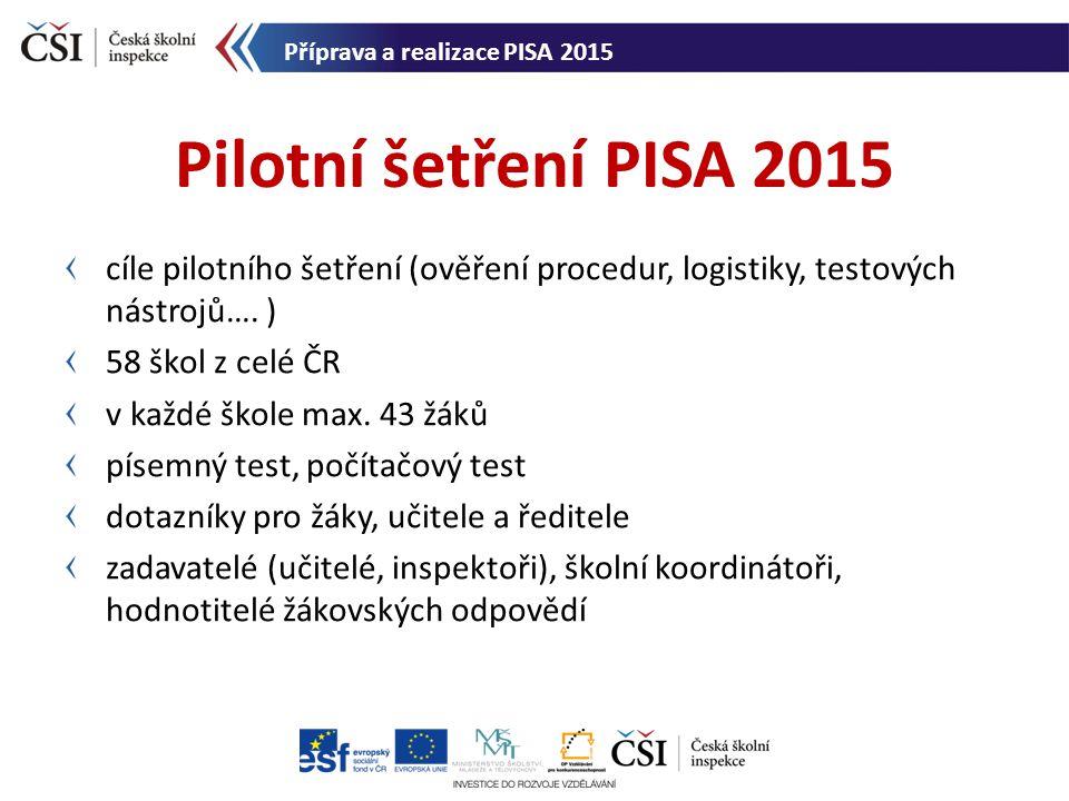 cíle pilotního šetření (ověření procedur, logistiky, testových nástrojů…. ) 58 škol z celé ČR v každé škole max. 43 žáků písemný test, počítačový test