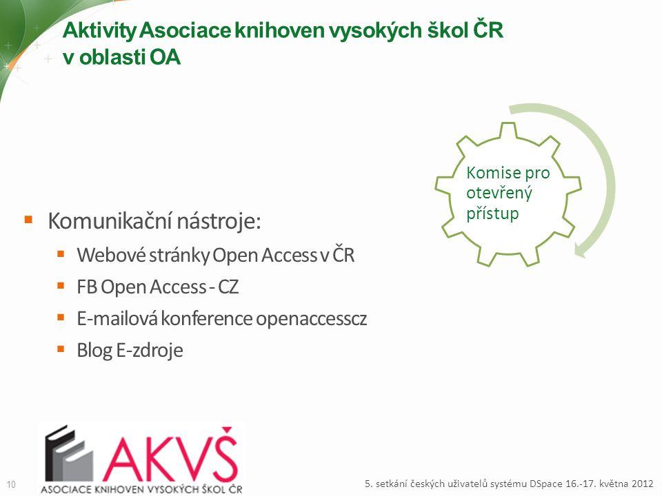 Aktivity Asociace knihoven vysokých škol ČR v oblasti OA  Komunikační nástroje:  Webové stránky Open Access v ČR  FB Open Access - CZ  E-mailová k