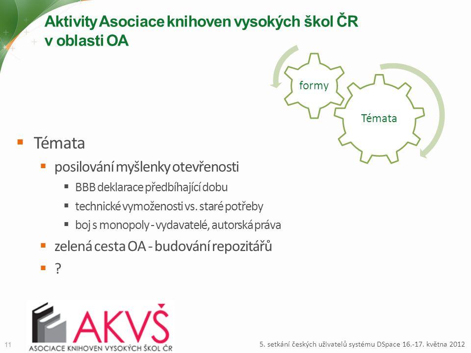 Témata formy Aktivity Asociace knihoven vysokých škol ČR v oblasti OA 11 5. setkání českých uživatelů systému DSpace 16.-17. května 2012  Témata  po