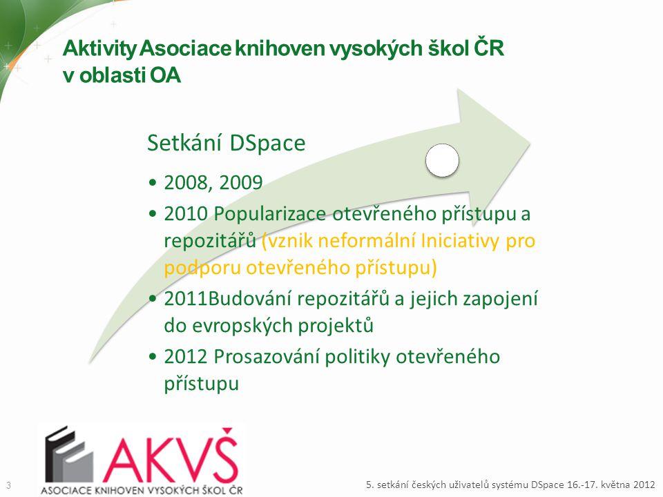 Aktivity Asociace knihoven vysokých škol ČR v oblasti OA 3 5. setkání českých uživatelů systému DSpace 16.-17. května 2012 Setkání DSpace 2008, 2009 2