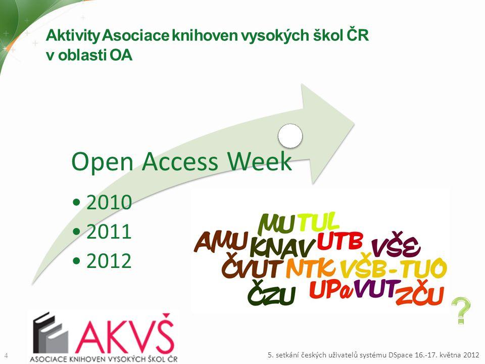 Aktivity Asociace knihoven vysokých škol ČR v oblasti OA 4 5. setkání českých uživatelů systému DSpace 16.-17. května 2012 Open Access Week 2010 2011