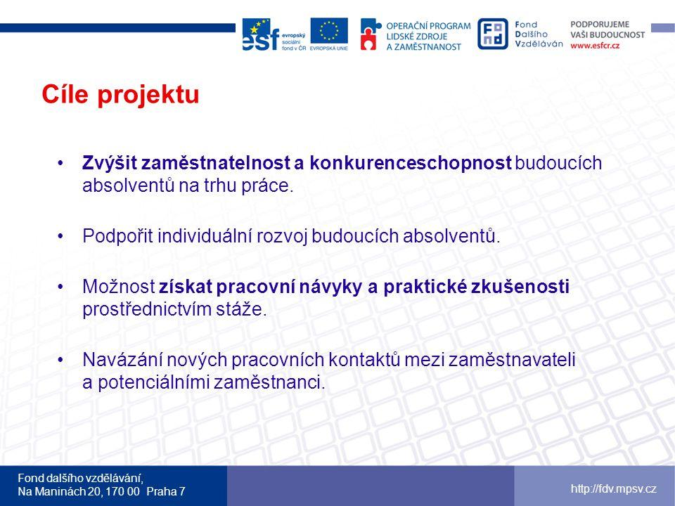 Fond dalšího vzdělávání, Na Maninách 20, 170 00 Praha 7 http://fdv.mpsv.cz Cíle projektu Zvýšit zaměstnatelnost a konkurenceschopnost budoucích absolventů na trhu práce.