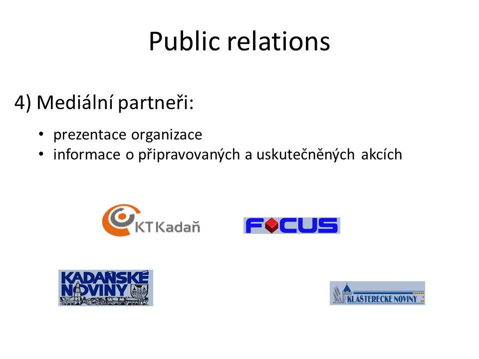 Public relations 4) Mediální partneři: prezentace organizace informace o připravovaných a uskutečněných akcích