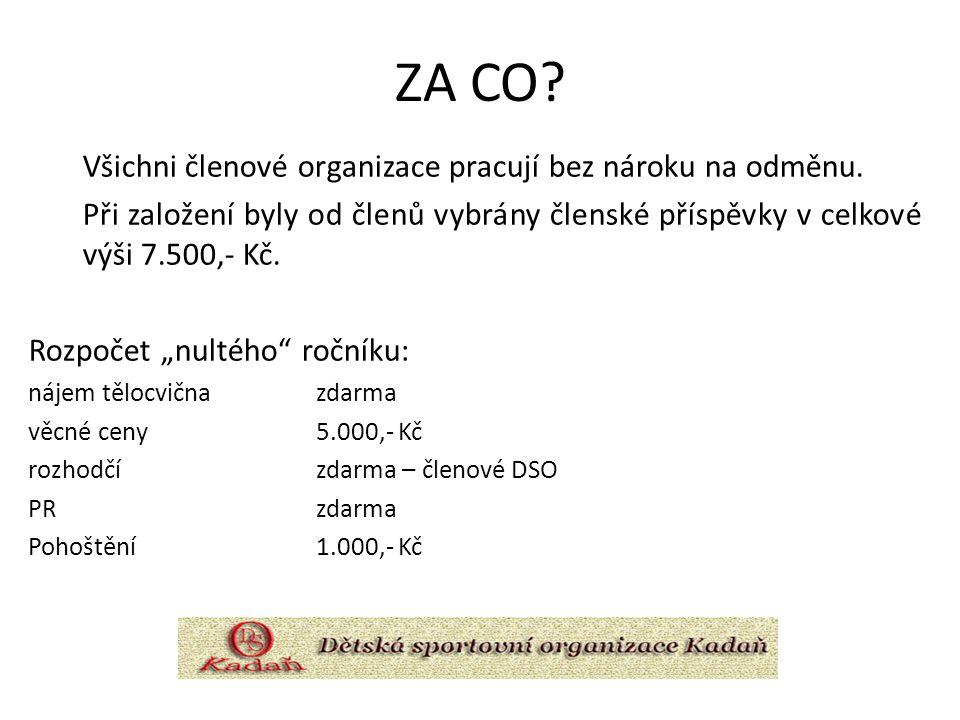 ZA CO? Všichni členové organizace pracují bez nároku na odměnu. Při založení byly od členů vybrány členské příspěvky v celkové výši 7.500,- Kč. Rozpoč