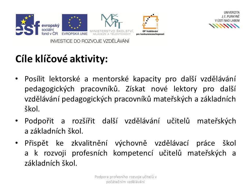 Cíle klíčové aktivity: Posílit lektorské a mentorské kapacity pro další vzdělávání pedagogických pracovníků.