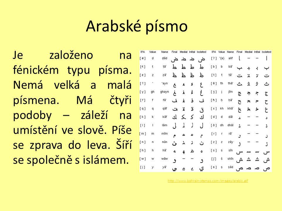 Arabské písmo Je založeno na fénickém typu písma. Nemá velká a malá písmena. Má čtyři podoby – záleží na umístění ve slově. Píše se zprava do leva. Ší
