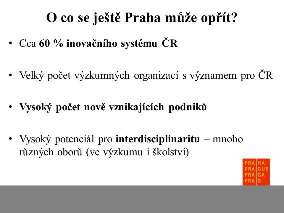 Cca 60 % inovačního systému ČR Velký počet výzkumných organizací s významem pro ČR Vysoký počet nově vznikajících podniků Vysoký potenciál pro interdisciplinaritu – mnoho různých oborů (ve výzkumu i školství) O co se ještě Praha může opřít