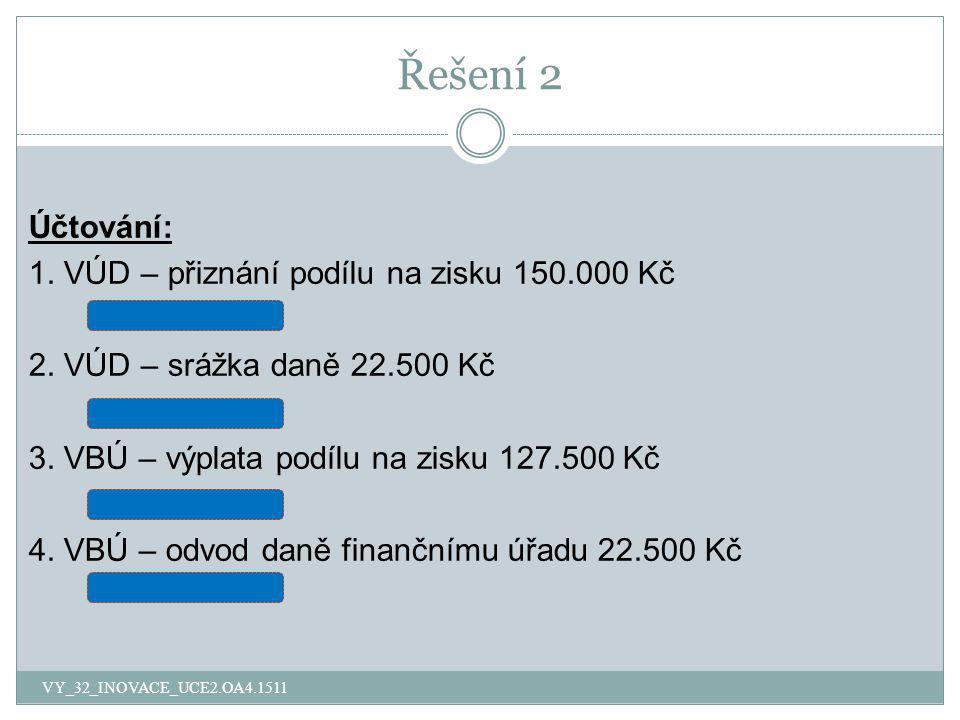 Řešení 2 Účtování: 1. VÚD – přiznání podílu na zisku 150.000 Kč 431/364 2. VÚD – srážka daně 22.500 Kč 364/342 3. VBÚ – výplata podílu na zisku 127.50