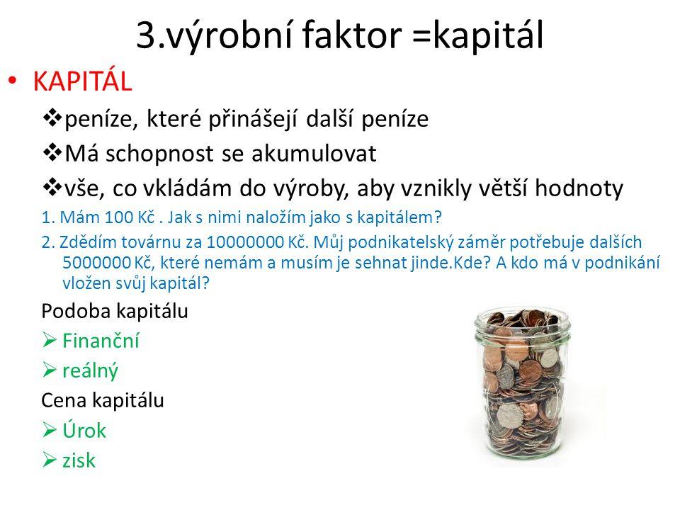 3.výrobní faktor =kapitál KAPITÁL  peníze, které přinášejí další peníze  Má schopnost se akumulovat  vše, co vkládám do výroby, aby vznikly větší h