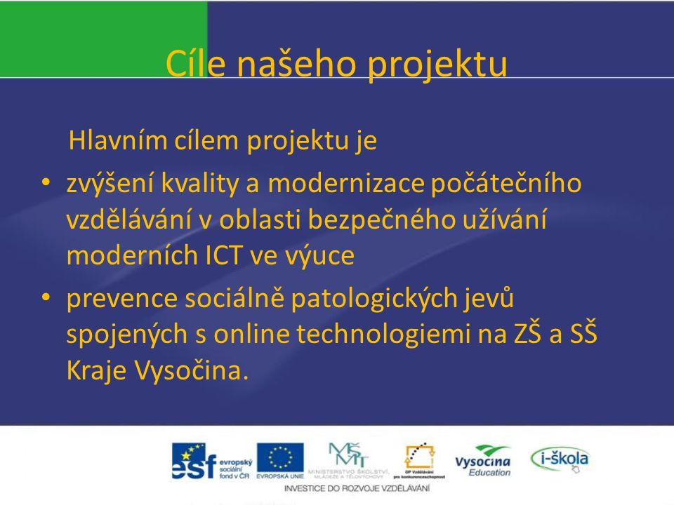 Hlavním cílem projektu je zvýšení kvality a modernizace počátečního vzdělávání v oblasti bezpečného užívání moderních ICT ve výuce prevence sociálně patologických jevů spojených s online technologiemi na ZŠ a SŠ Kraje Vysočina.