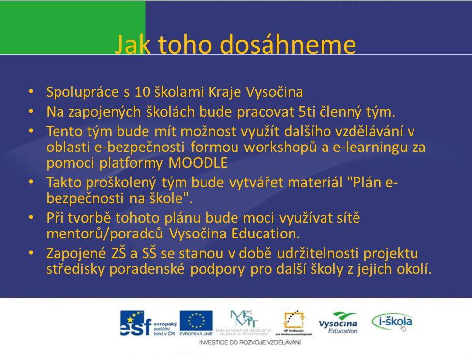 Jak toho dosáhneme Spolupráce s 10 školami Kraje Vysočina Na zapojených školách bude pracovat 5ti členný tým.