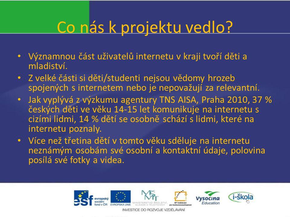 Co nás k projektu vedlo. Významnou část uživatelů internetu v kraji tvoří děti a mladiství.