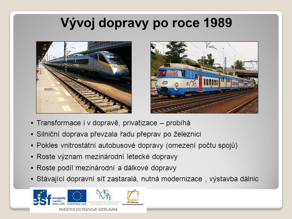 Vývoj dopravy po roce 1989 ▪Transformace i v dopravě, privatizace – probíhá ▪Silniční doprava převzala řadu přeprav po železnici ▪Pokles vnitrostátní