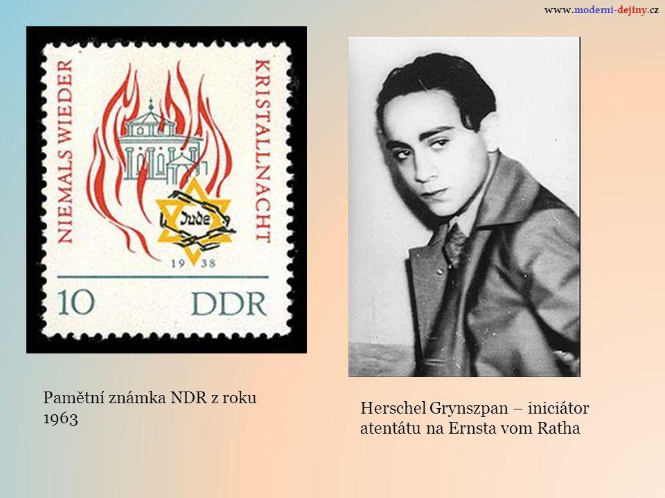 Pamětní známka NDR z roku 1963 Herschel Grynszpan – iniciátor atentátu na Ernsta vom Ratha www.moderni-dejiny.cz