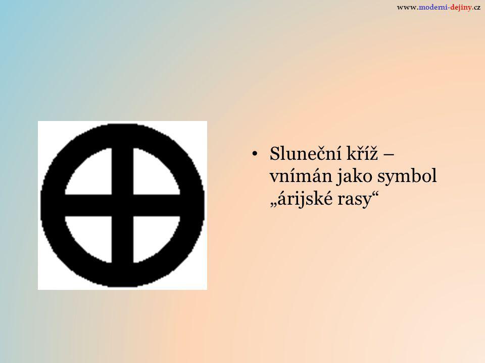 """Sluneční kříž – vnímán jako symbol """"árijské rasy www.moderni-dejiny.cz"""