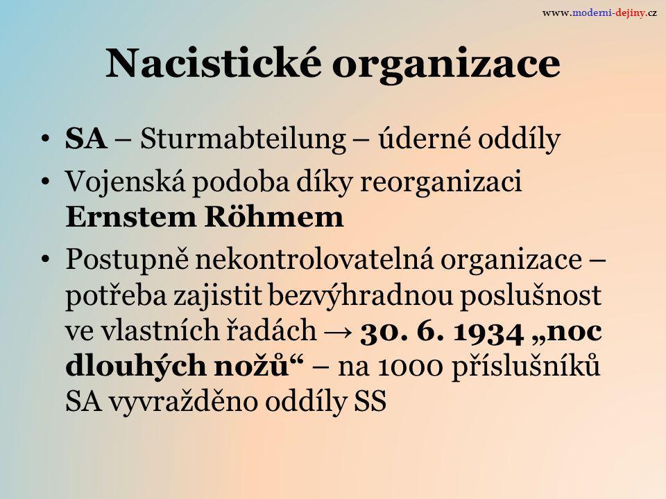 Nacistické organizace SA – Sturmabteilung – úderné oddíly Vojenská podoba díky reorganizaci Ernstem Röhmem Postupně nekontrolovatelná organizace – potřeba zajistit bezvýhradnou poslušnost ve vlastních řadách → 30.