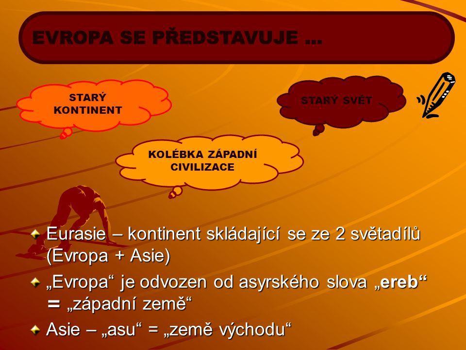 """Eurasie – kontinent skládající se ze 2 světadílů (Evropa + Asie) """"Evropa"""" je odvozen od asyrského slova """"ereb"""" = """"západní země"""" Asie – """"asu"""" = """"země v"""