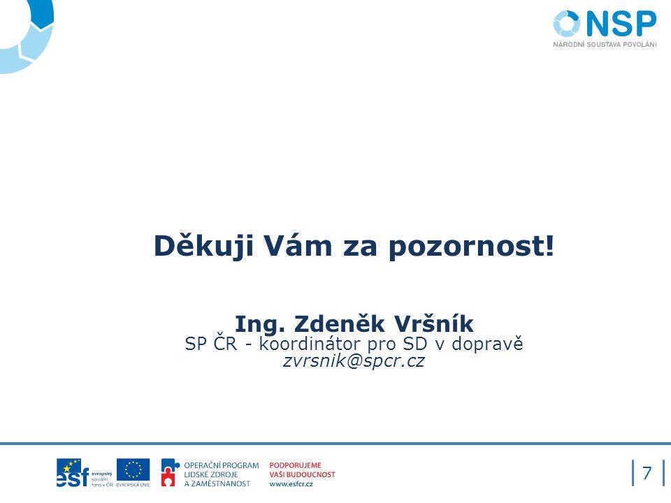 Děkuji Vám za pozornost! Ing. Zdeněk Vršník SP ČR - koordinátor pro SD v dopravě zvrsnik@spcr.cz 7